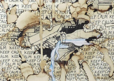 Image: Milk In The Rubble by Marguerite Powers (MIXED MEDIA: Coffee, Pen, Sharpie, and Colored Pencil)